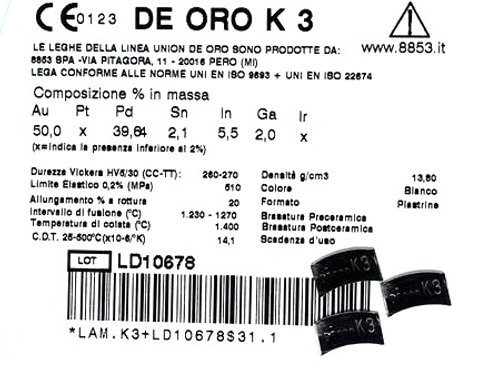 DE ORO K3 Aufbrennlegierung