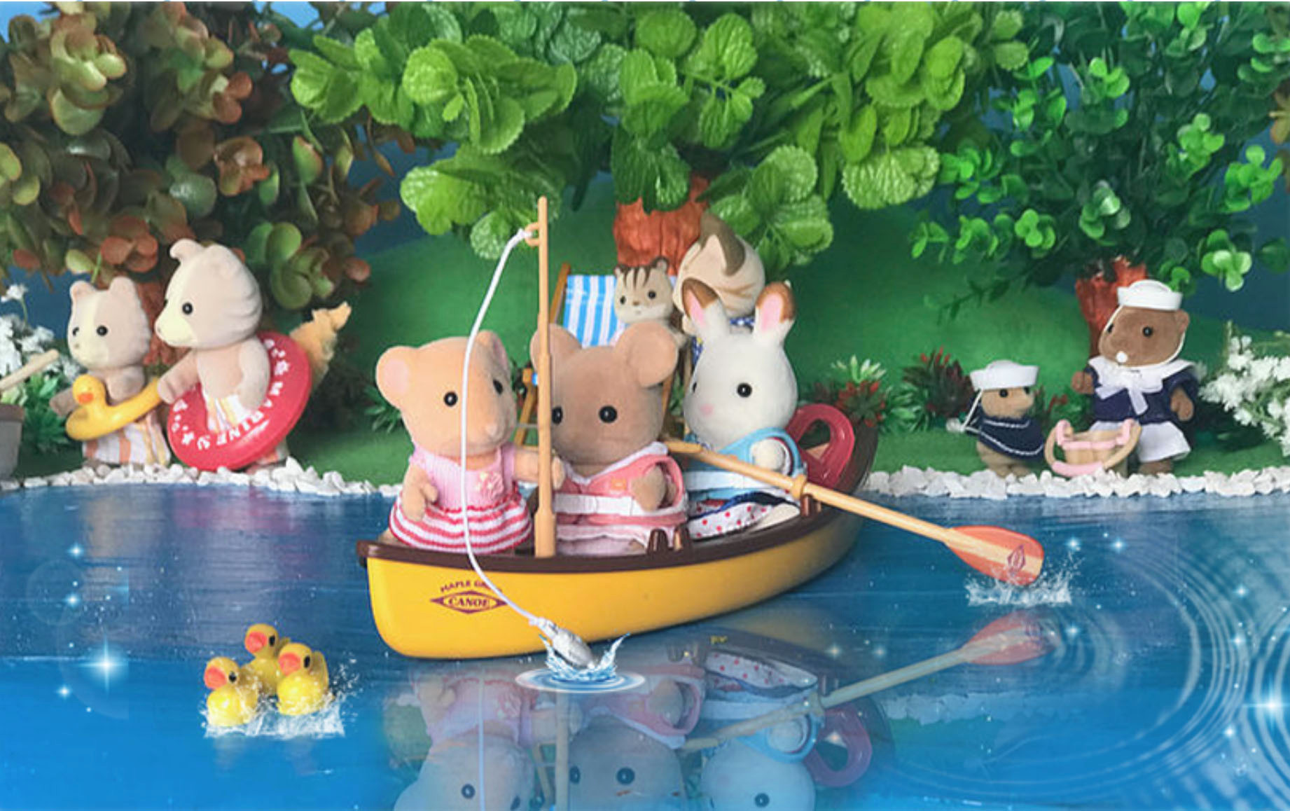 Fishing in the canoe