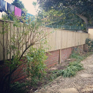 Feather edge fencing fitted to wall