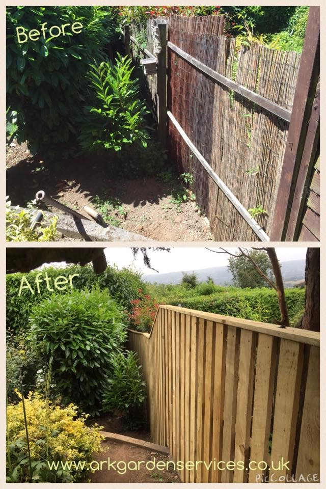 Ark Fencing & Garden Services - Garden fencing built using slat fencing (4x1) fully treated fencing product. arkgardenservices.co.uk