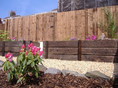 Recalimed railway sleepers and landscape stone