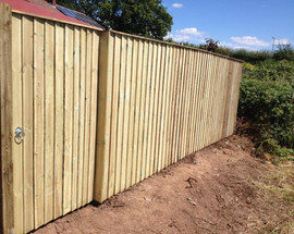 Feather edge fencing and gate