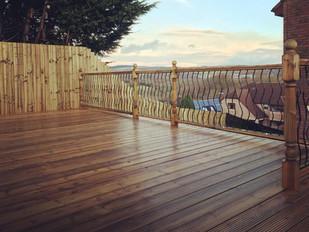 Decking with metal balustrade