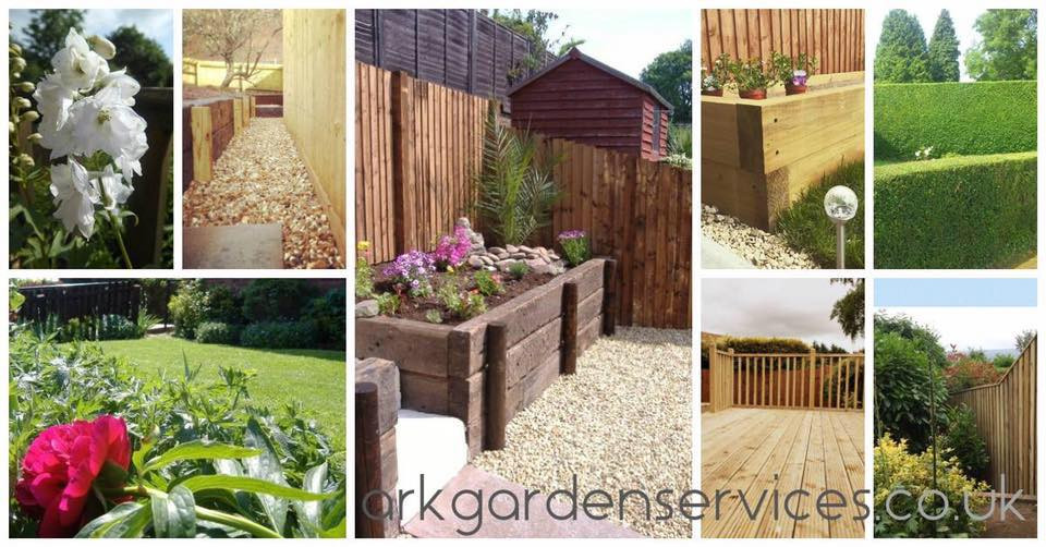 Ark Fencing & Garden Services garden deisgn and garden maintenance, planting and grass cutting. Decking and landscaping, raised planters, retained railway sleeper borders, hedge cutting and hedge trimming. Slat fencing and landscape stone. arkgardenservices.co.uk