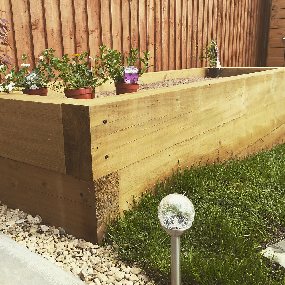 Ark Fencing and Garden Services - Garden planter created using railway sleeper 10 x 8 fully treated timber. arkgardenservices.co.uk