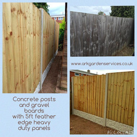 Feather edge panels, concrete posts and gravel boards