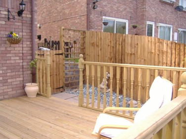 Decking area with balustrade Cwmbran