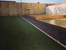 Lawn turf, decking and fencing