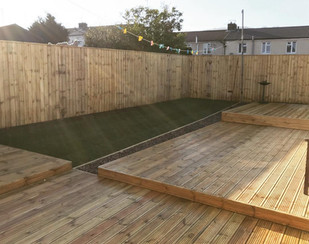 Decking fencing and turfing