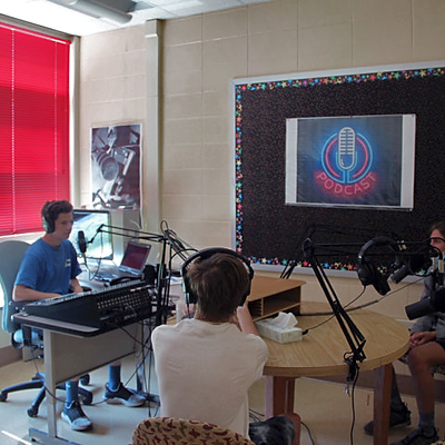 Town Tech Class Building Their Podcasting Skills