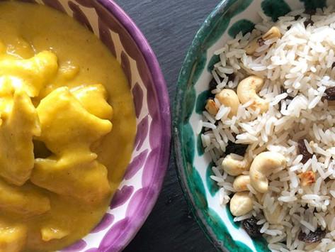 Pollo al Curry y Arroz Frutos secos