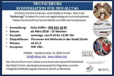 Curso de Alemão A1.3, em Março no CEBRAC