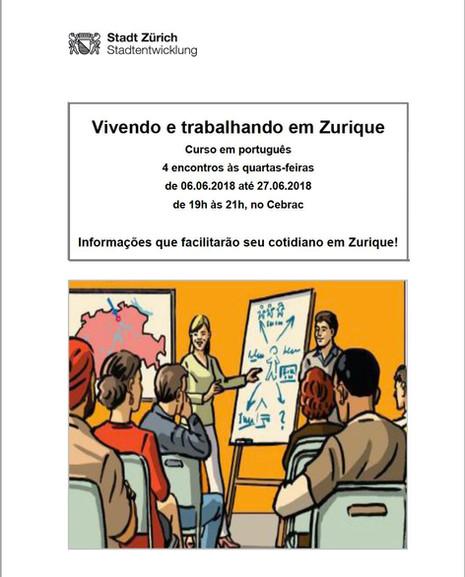 """Curso """"Vivendo e trabalhando em Zurique"""", as quarta-feiras no CEBRAC"""
