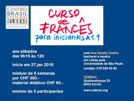 Curso de Francês a partir de 27.01.18 no CEBRAC