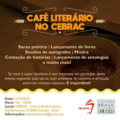 Café Literário no CEBRAC, dia 13.10 as 15h