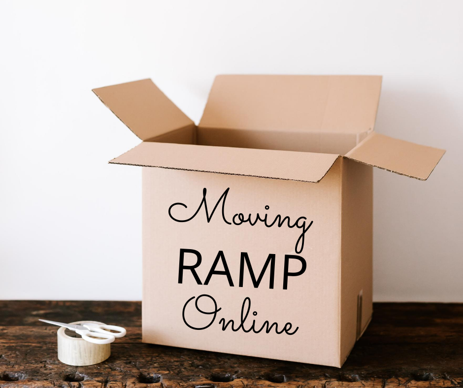 """Moving box with writing """"Moving RAMP Online"""""""
