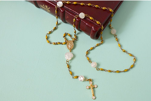YELLOW ENAMEL ROSARY