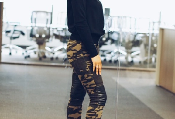 Camo and Leather Pant