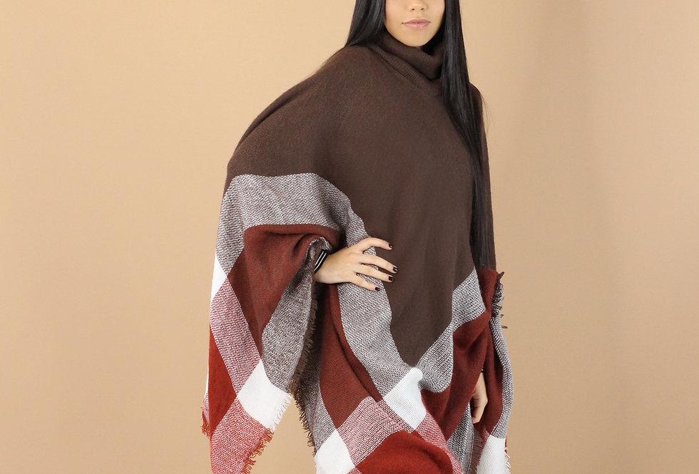 Isha Plaid Poncho (Brown)