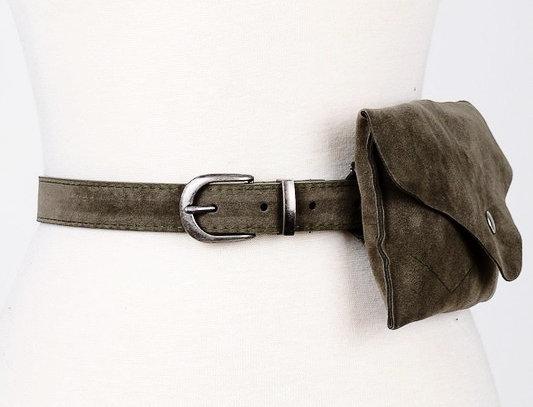 Suede Waist Belt Bag-Olive