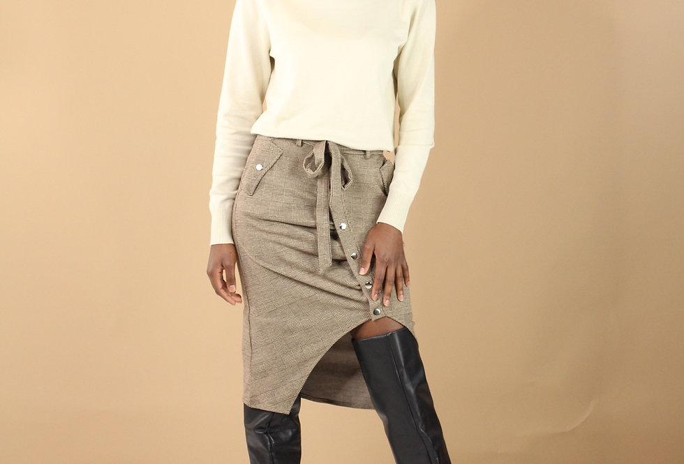 Bobbie Plaid Asymmetric Skirt