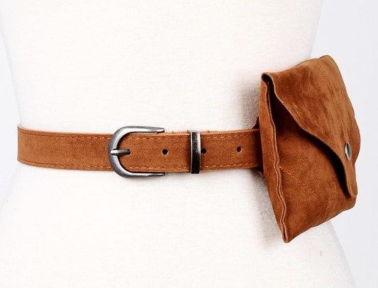Suede Waist Belt Bag-Camel