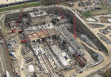 Aerial photo of construction site, project monitoring