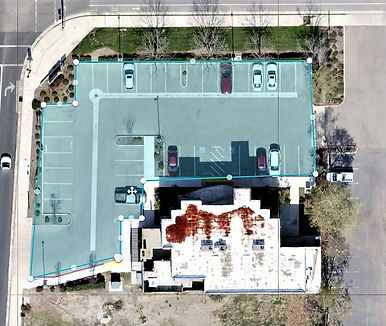Aerial photo of commercial real estate, measuring dimensions
