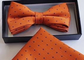 Boxed Orange Bow Tie with a  Pocket Handkerchief