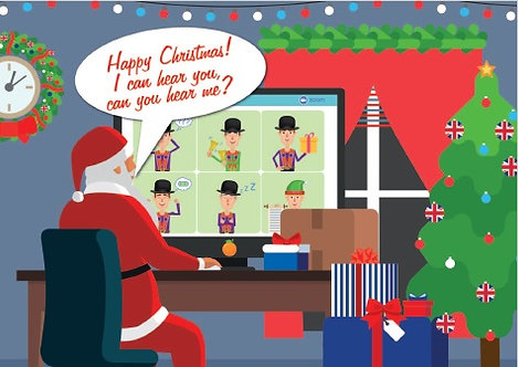 'Santa's zoom call to his little Orange helpers' Christmas Card