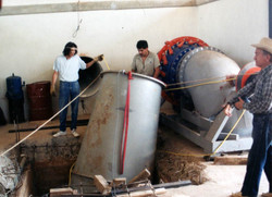 05-Draft_Tube_Install_with_penstock_in_rear_and_turbine_to_the_side