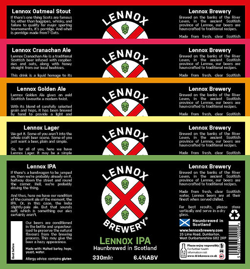 Lennox Brewery Beer Bottle Labels