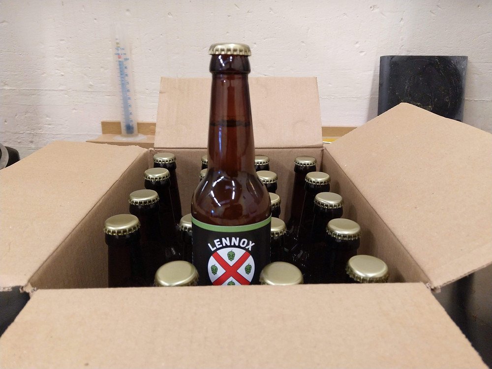 Box of beer bottles with one half raised in a teasing manner