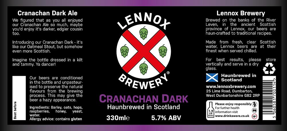 The bottle label for Cranachan Dark