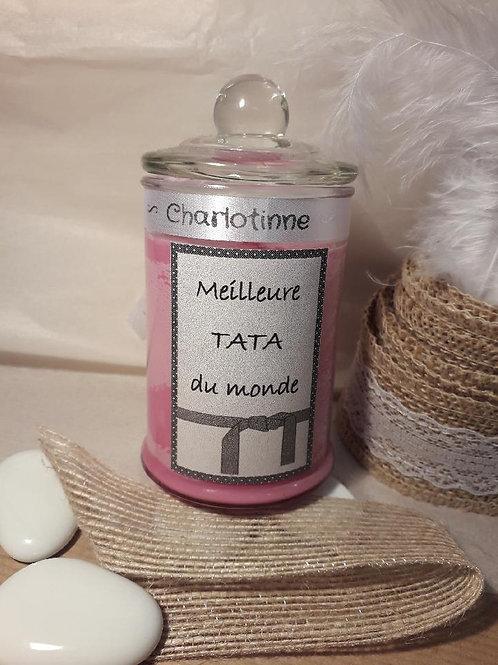"Bougie parfumée barbapapa ""Meilleure tata du monde"""