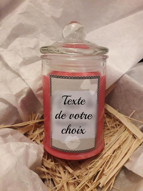 Bougie bonbonnière parfumée personnalisée avec le texte de votre choix