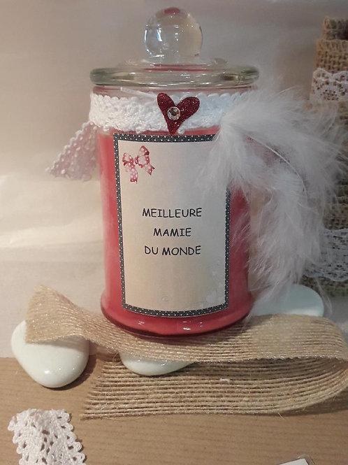 """Bougie parfumée pomme d'amour """"Meilleure mamie du monde"""""""