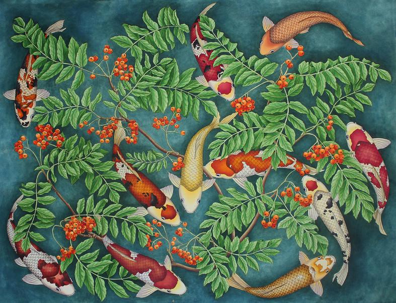 Koi and rowan berries