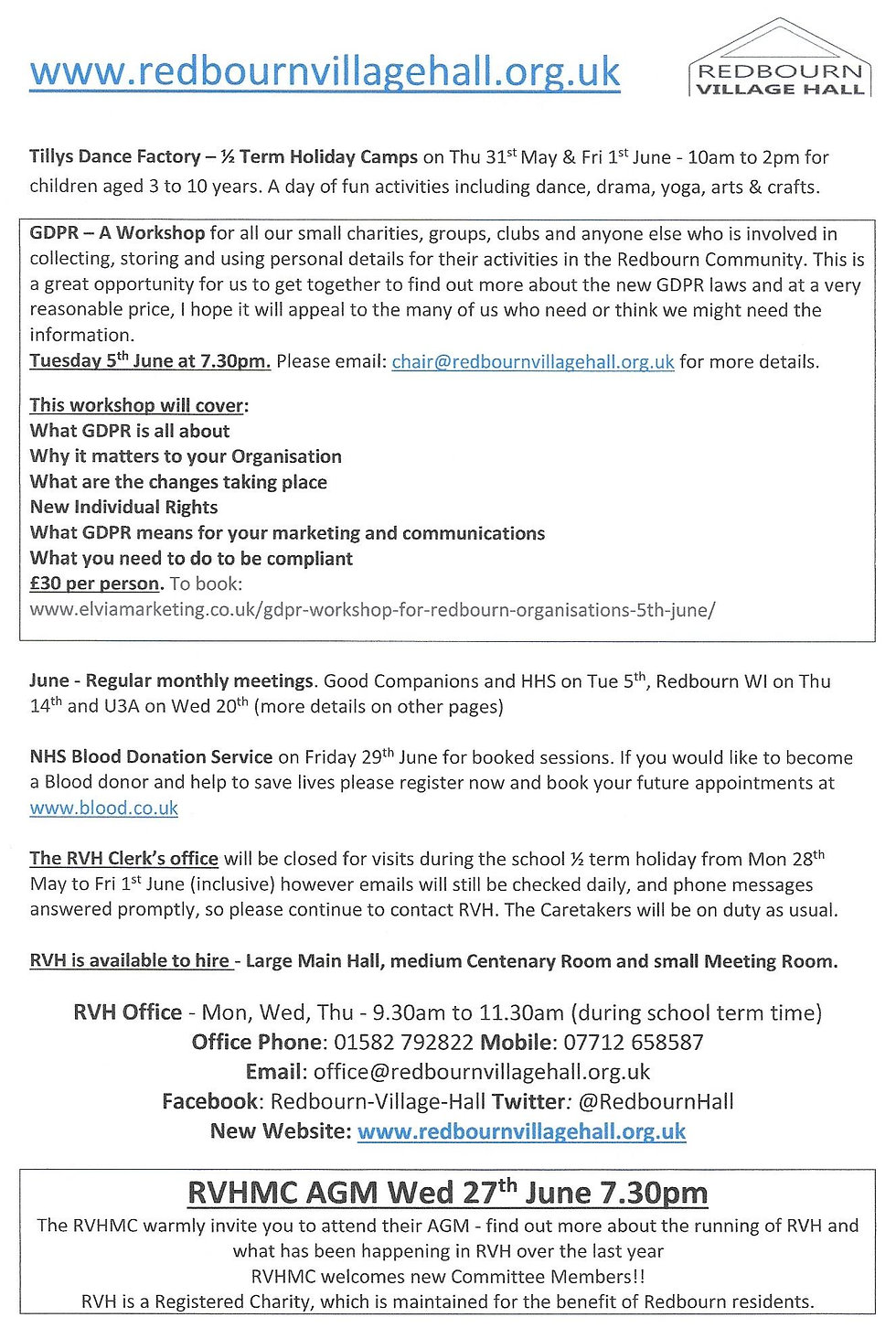 RedbournVillage Hall Events June 2018