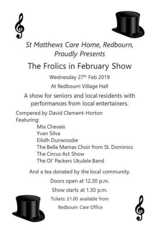 Frolics in February show in redbourn Village Hall
