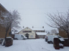 Redbourn Village Hall in the snow