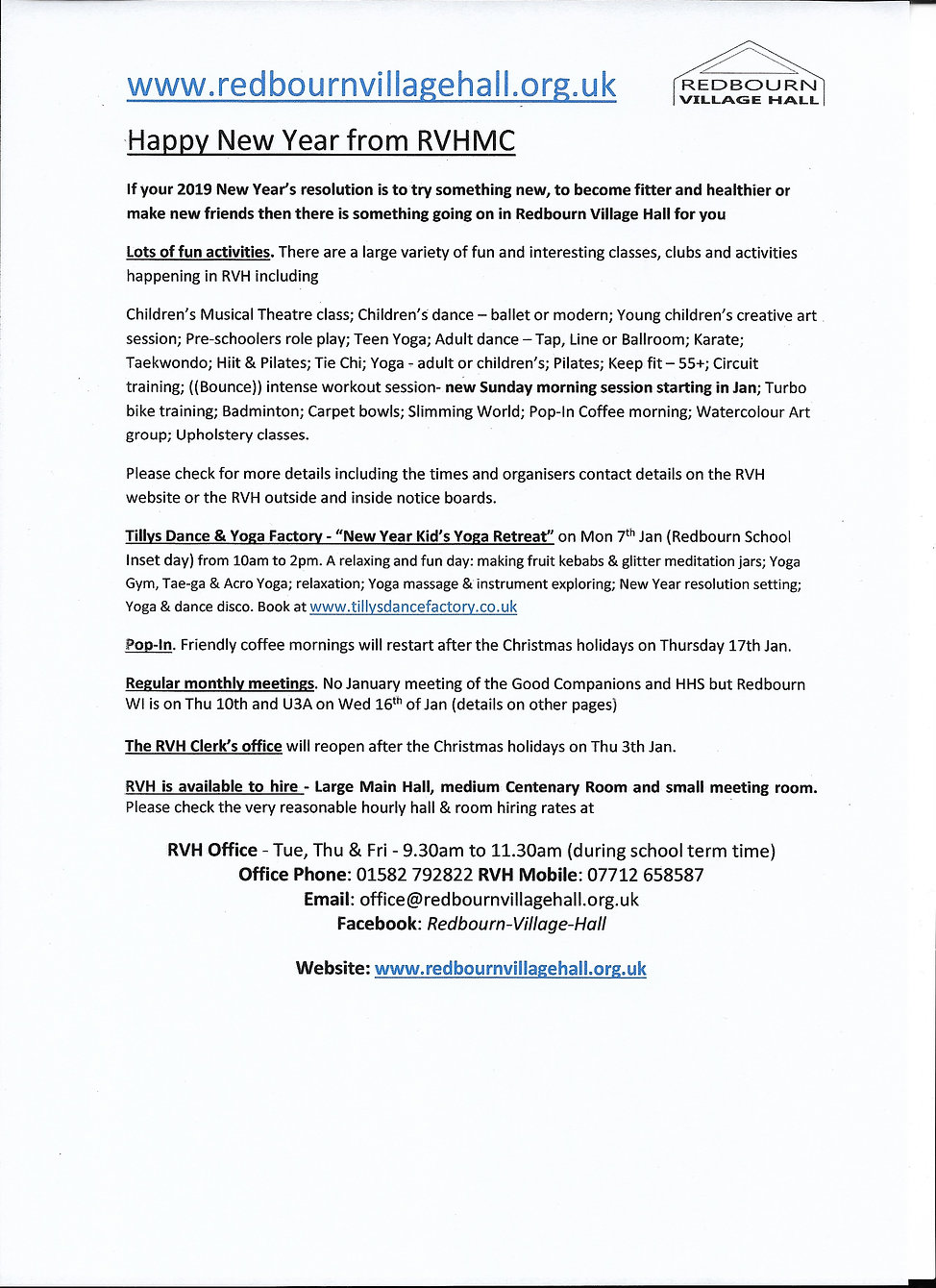 Redbourn Village Hall news what's on in January 2019