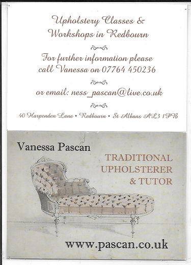 Vanessa Pascan Upholstery Workshop May 2018 in Redbourn Village Hall
