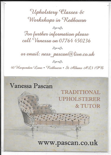 Vanessa Upholstery Classes in Redbourn Village Hall