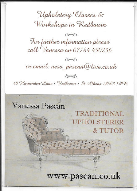 Vanessa Pascan Upholstery April 2018 in Redbourn Village Hall