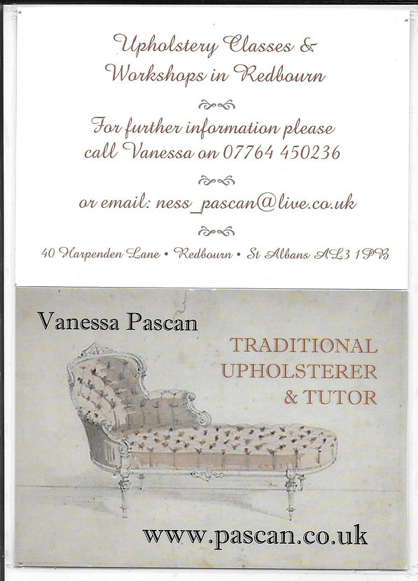 Vanessa Pascan Upholstery Workshop on Saturday 22nd September 2018