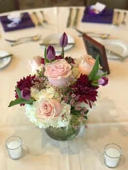purples pinks short vase