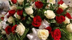 2) Red & White Basket Roses $250.00