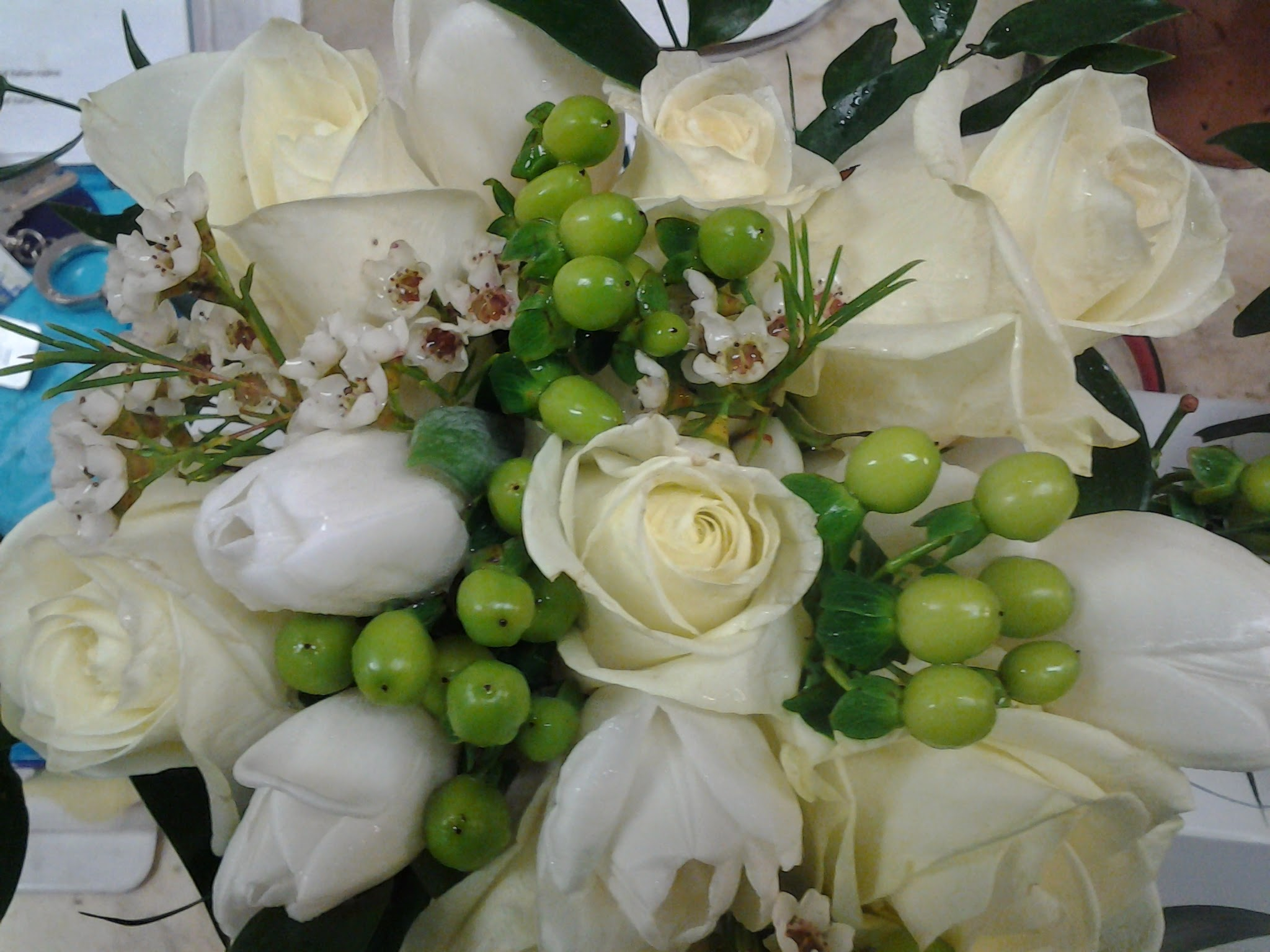 White Rose, Tulips and Green Hyperic