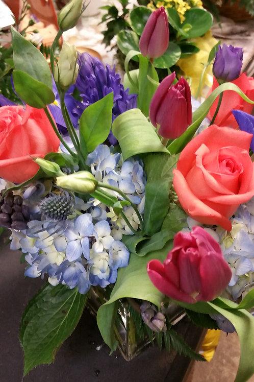 Hydrangeas, Tulips and roses